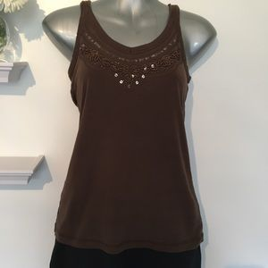 Lady Hathaway Tank Top- Beaded Work and Sequins